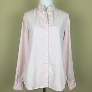 J. Crew Fitted Pink Button Down Blouse